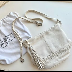 Brighton Cream Leather Bag with Tassel and Studs
